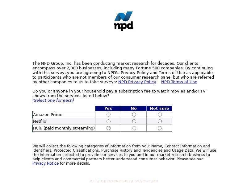 NPD - Streaming Survey | US