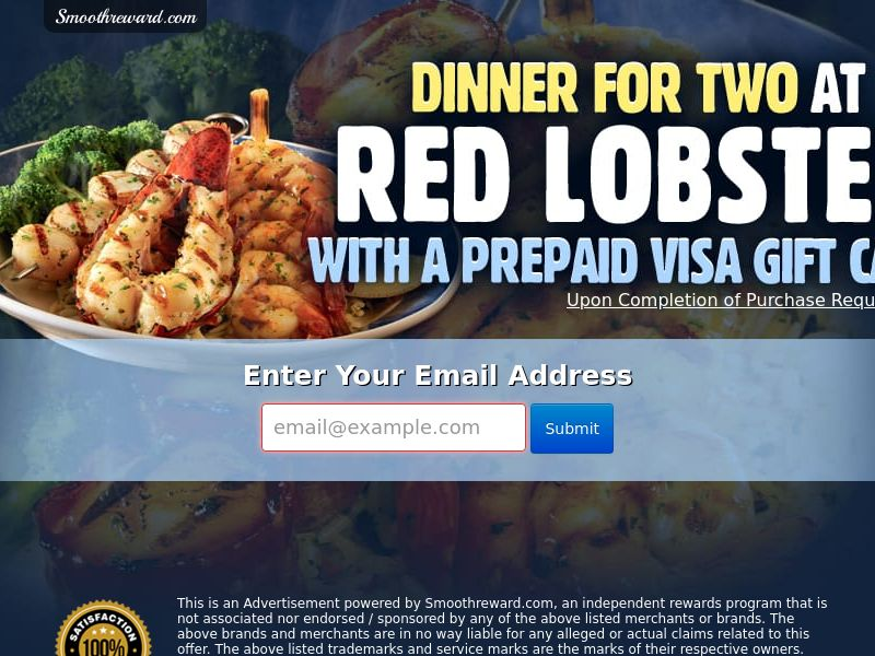 Red Lobster Gift Card - Email Submit - Incent