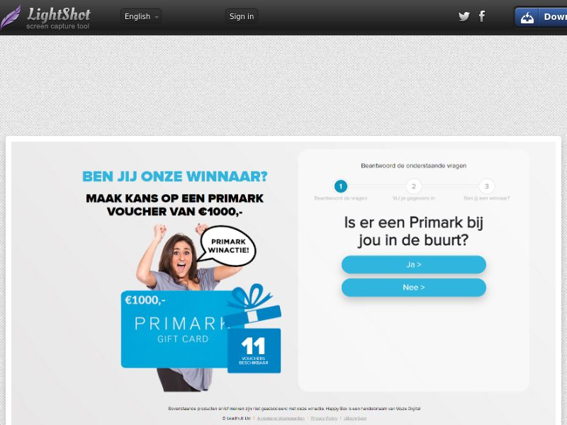 OnlineWinAction - Primark Giftcard (NL) (CPL) (Personal Approval)