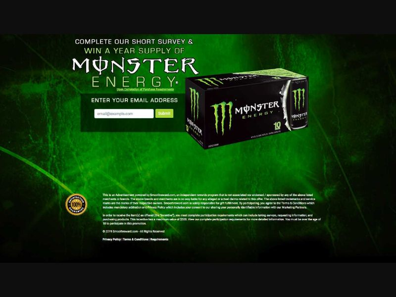Monster Energy Supply (US), [CPL], Lotteries and Contests, Single Opt-In, Survey, Email Submit, paypal, survey, gift, gift card, free, amazon