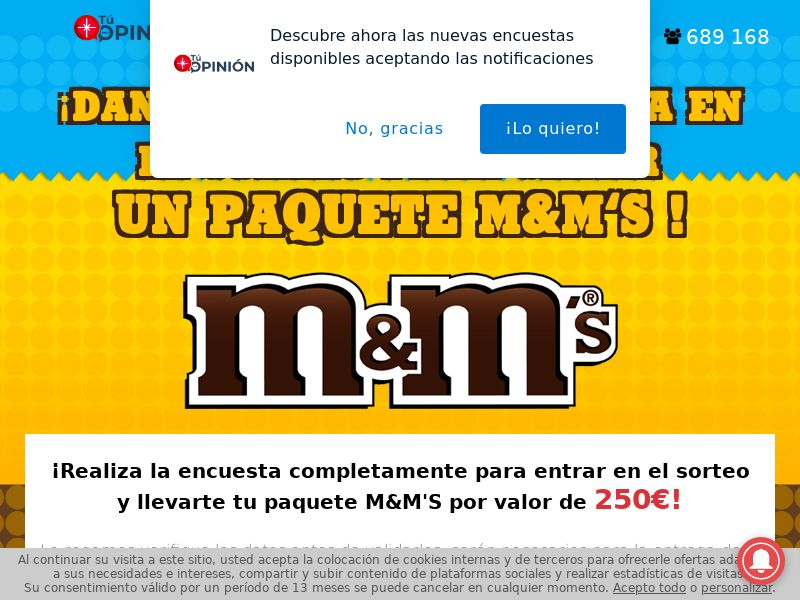 M&M´s - ES (ES), [CPL], Lotteries and Contests, Single Opt-In, paypal, survey, gift, gift card, free, amazon