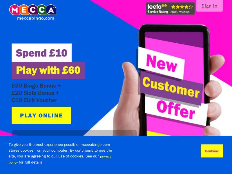 Mecca Bingo - Spend £10 Play With £120 [UK]