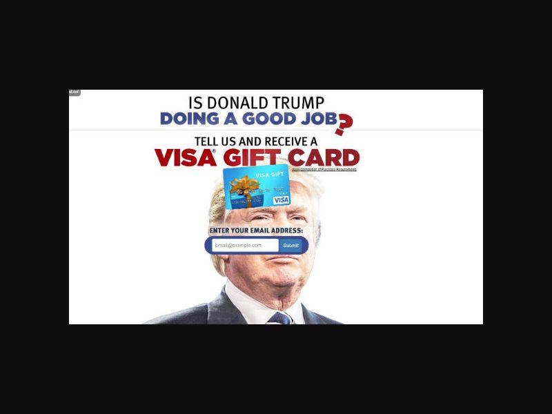 Is Donald Trump Doing a Good Job? Get a VISA Gift Card - One Field