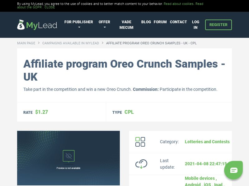 Oreo Crunch Samples - UK (GB), [CPL]