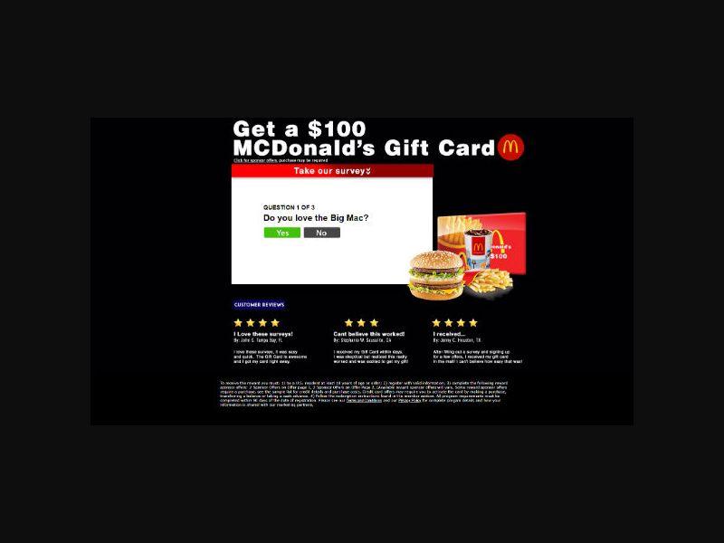 Dining Rewards Club - $100 McDonald's Gift Card - SOI (US)