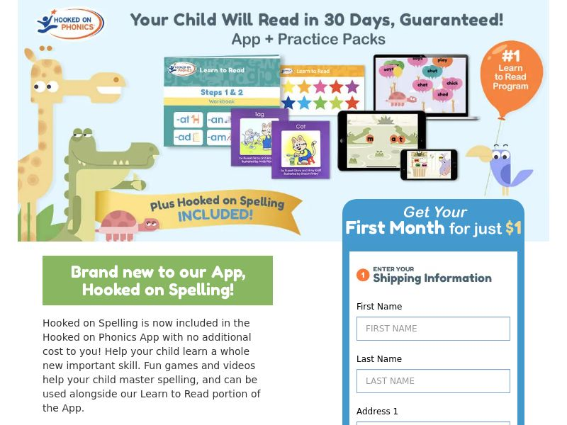 Get your first month of Hooked on Phonics for just $1 - CC Submit | US, CA
