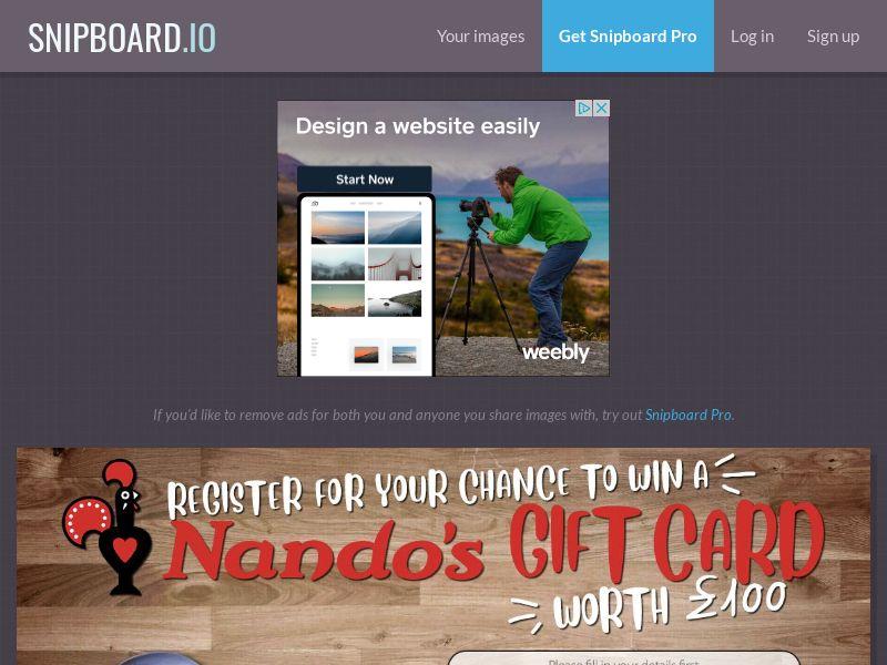 NectarContests - Nandos Giftcard UK - SOI