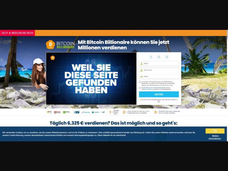 Bitcoin Billionaire - 250 min CTC - VSL - Crypto - SS - [DE]