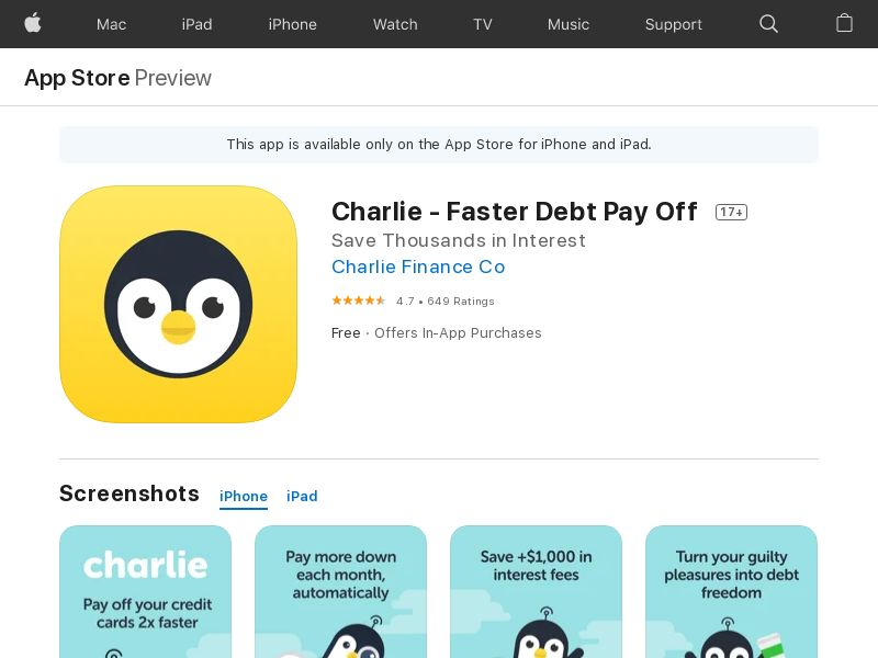 Charlie: Faster Debt Pay Off - iOS (US) (Trial) (Incent) (Personal Approval)