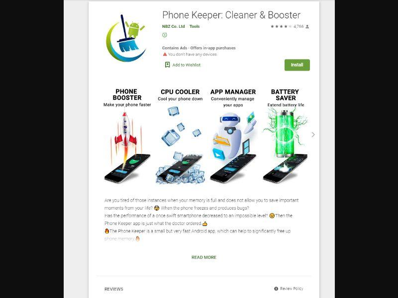 Phone Keeper: Cleaner & Booster [NZ,DK] - CPI