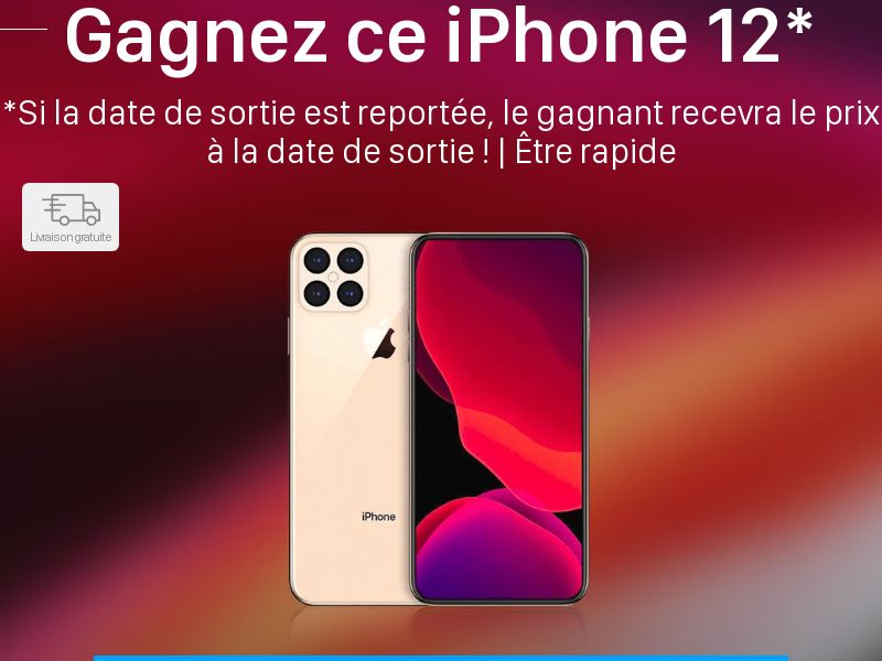 Win iPhone 12 - FR (FR), [CPL], Lotteries and Contests, Single Opt-In, paypal, survey, gift, gift card, free, amazon
