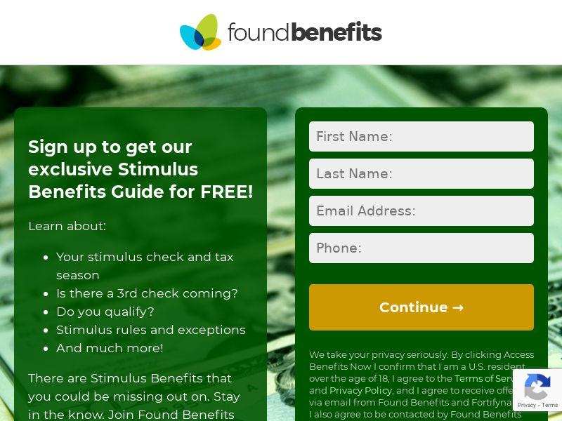 Stimulus Found Benefits - Email Submit