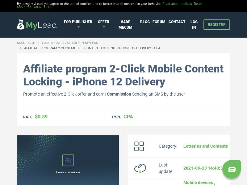2-Click Mobile Content Locking - iPhone 12 Delivery (MultiGeo), [CPA]