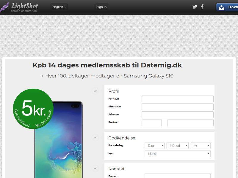 Datemig Samsung Galaxy S10 (Sweepstake) (CC Trial) - Denmark