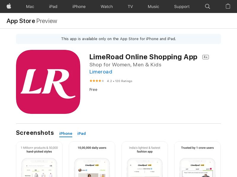 Lime Road iOS IN CPT