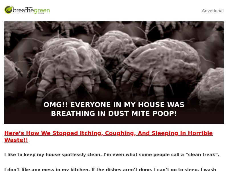Breathe Green Dust Mite Fighter [ECOMM] - CPA - Straight Sale - US