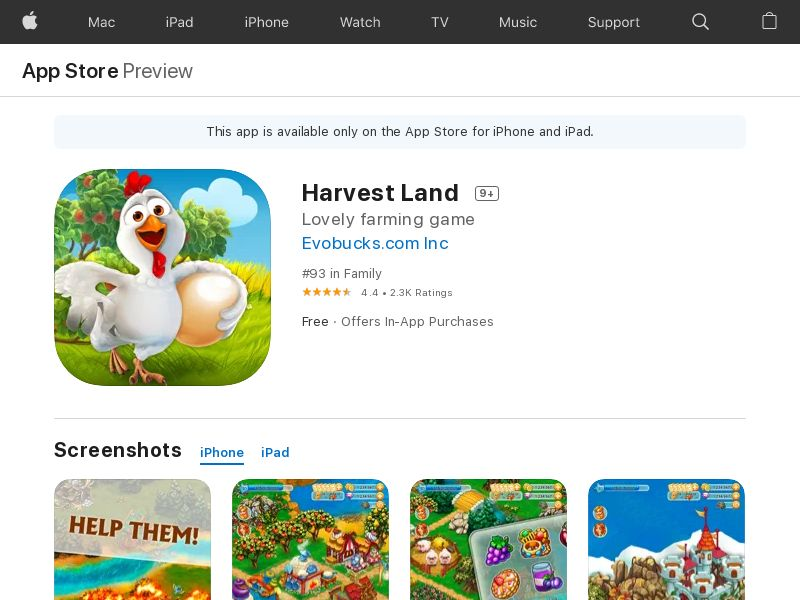 Harvest Land iOS CPE (lvl 10) - NO/SE