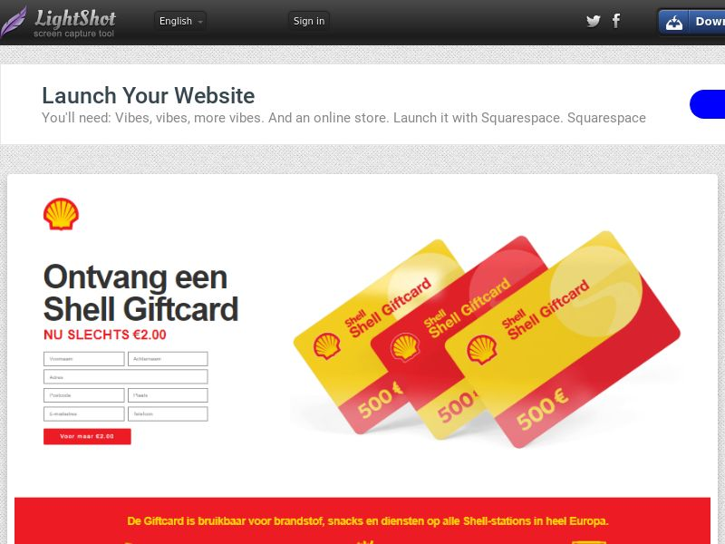 winlotsofthings 500€ SHELL Giftcard (Sweepstake) (CC Trial) - Belgium (BEnl) [BE]