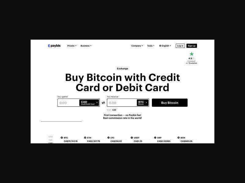 Paybis | Buy Bitcoin Instantly (Worldwide) SOI