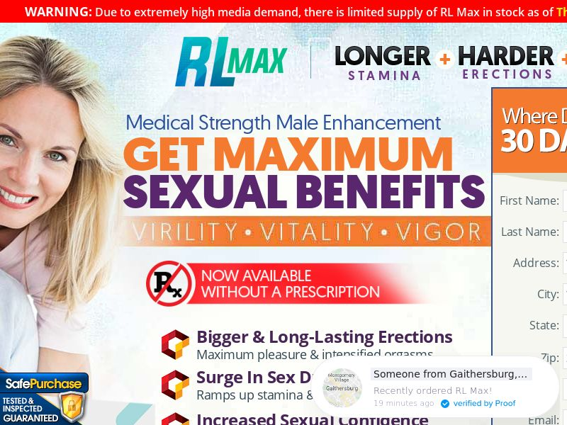 RL MAX ME (Trial W/1 Click Upsell) (US) (SMS Allowed) (Survey Allowed) (EXCLUSIVE) (50% Rebill Required)