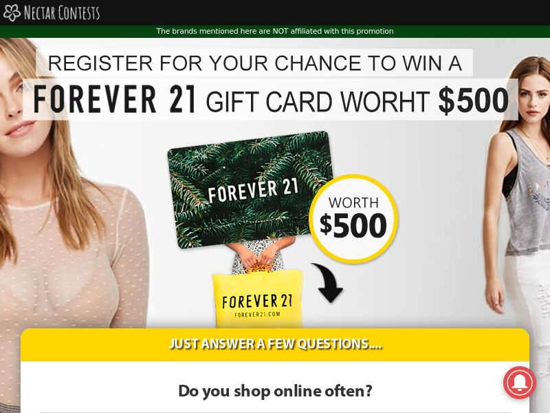NectarContests - Forever 21 Giftcard $500 CPL [AU]