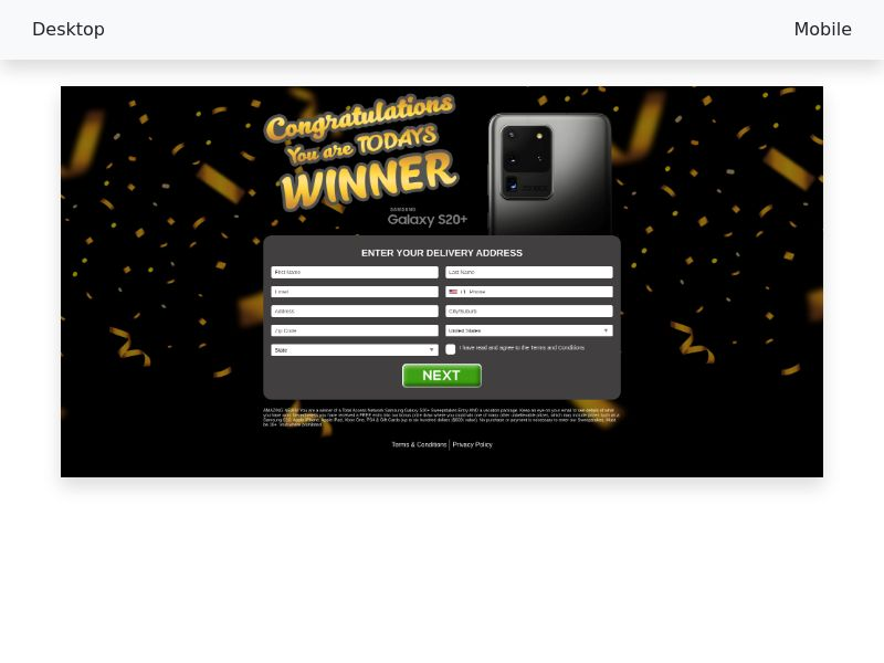 CC-submit Samsung Galaxy S20 Sweepstakes (Gold / Black v2) [US]