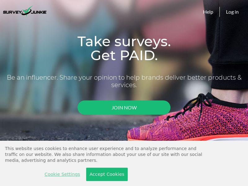 Survey Junkie - Take Surveys, Get Paid DOI CPL [US, CA, AU]