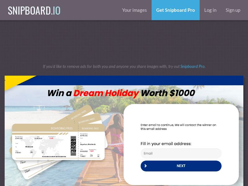 YouSweeps - Win a dream holiday CA - SOI