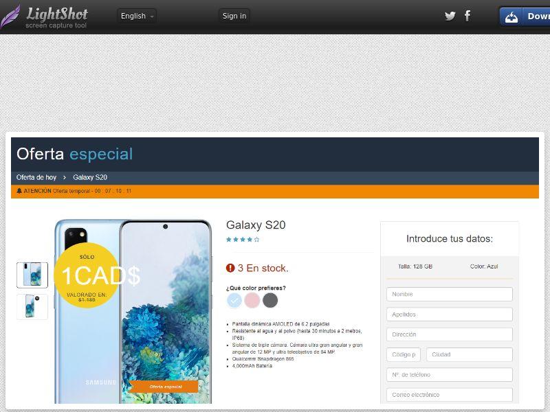 winlotsofthings Samsung S20 Amazon (Sweepstakes) (CC Trial) - Spain