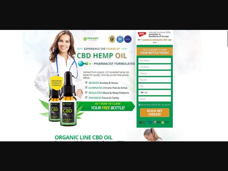 Organic Line Premium CBD Oil - CBD - Trial - [UK] - with 1-Click Upsell [Step1 $23.4 / Upsell $23.4]