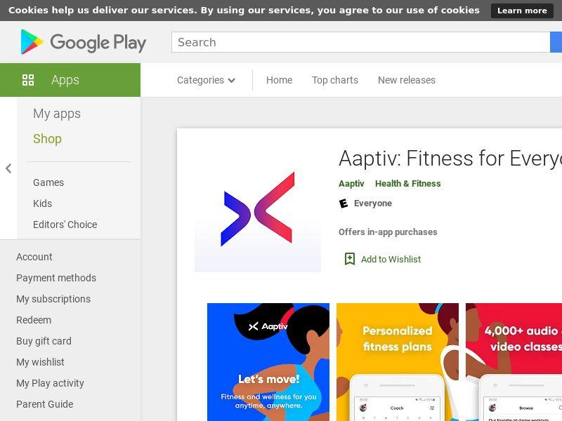 Aaptiv - Android - AU,CA, DE. NZ, UK CPE=Subscription