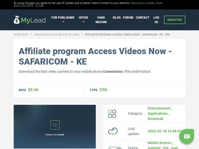 Access Videos Now - SAFARICOM - KE (KE), [CPA], Entertainment, Applications, Download, Confirm PIN, app, mobile, file, files, cpi