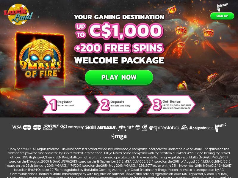 Luckland.com Casino CPA - CA, FI, IE, NL & NO