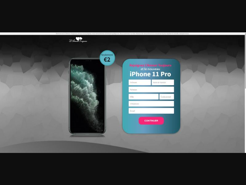 L'Amour Toujours iPhone 11 Pro - Sweepstakes & Surveys - Trial - [FR]