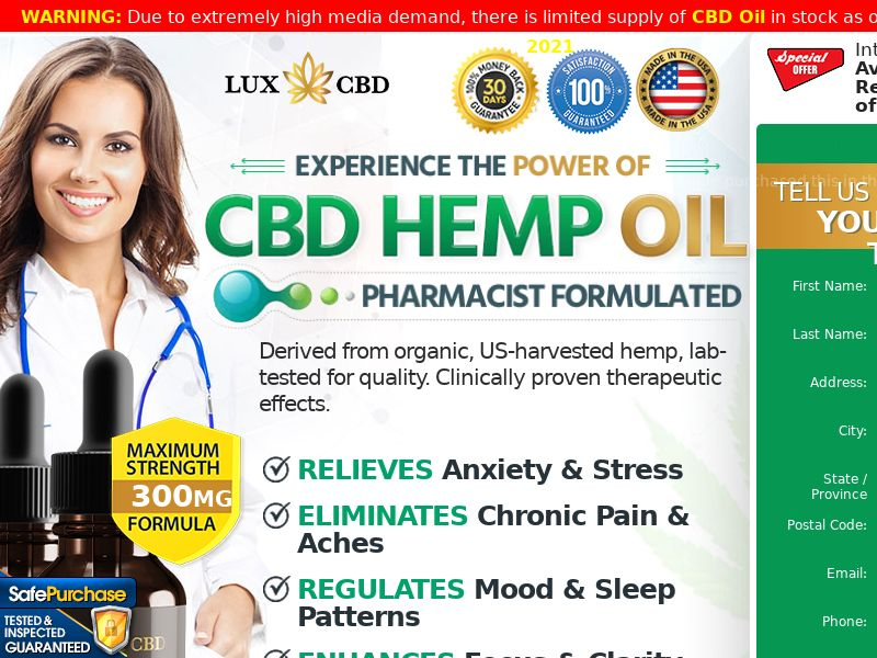 Lux CBD Oil [US] (Email,Social,Banner,Native,Push,SEO,Search) - CPA
