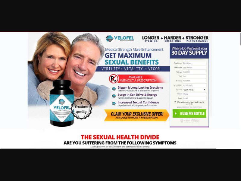 Velofel - Male Enhancement - Trial - NO SEO - [ZA] - with 1-Click Upsell [Step1 $22.95 / Upsell $22.95]