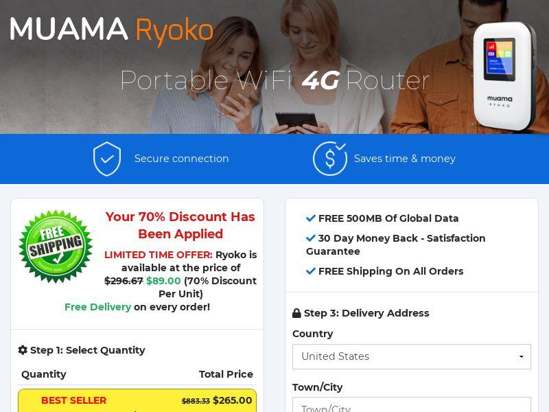 Ryoko Muama WiFi Router SS - US/INTL (No Brand Bidding)