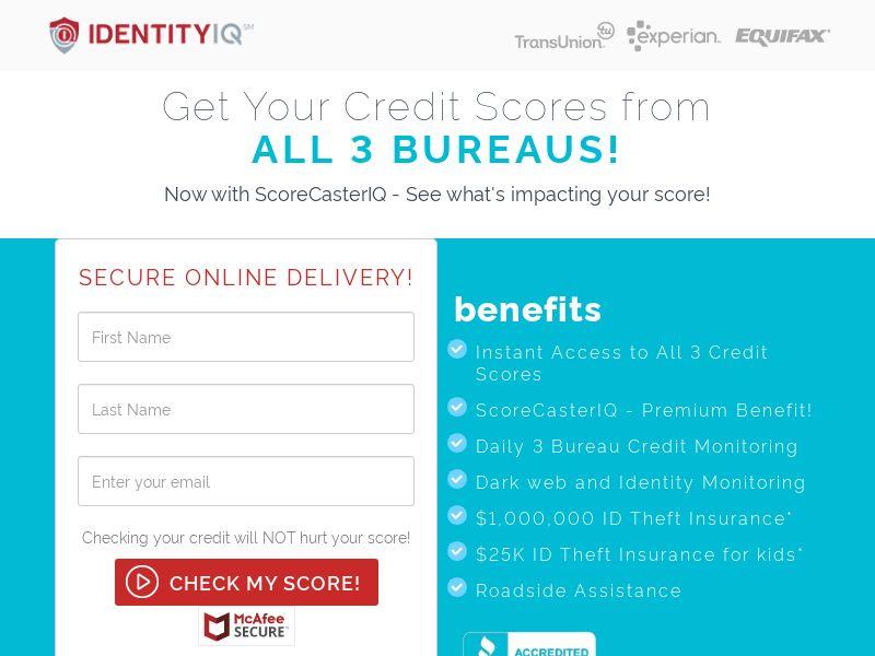 Identity IQ Credit Score - $1 Trial (CC Trial) - Financial/Credit Score - US