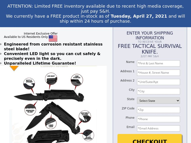 Free Tactical Survival Knife (CC Submit) - Survival/eCommerce - US