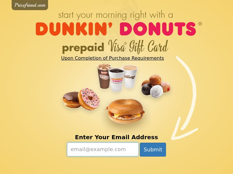 Dunkin Donuts Gift Card - Email Submit - Incent