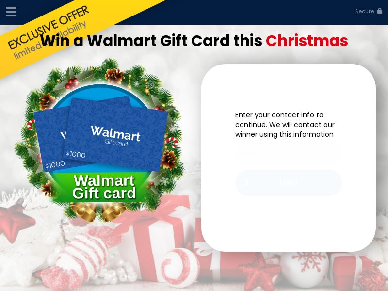 Win Walmart Gift Card Christmas (US) (CPL) (Personal Approval)