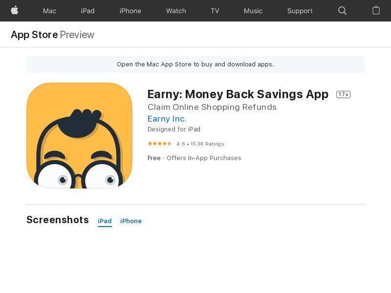 Earny: Money Back Savings App iOS CPE