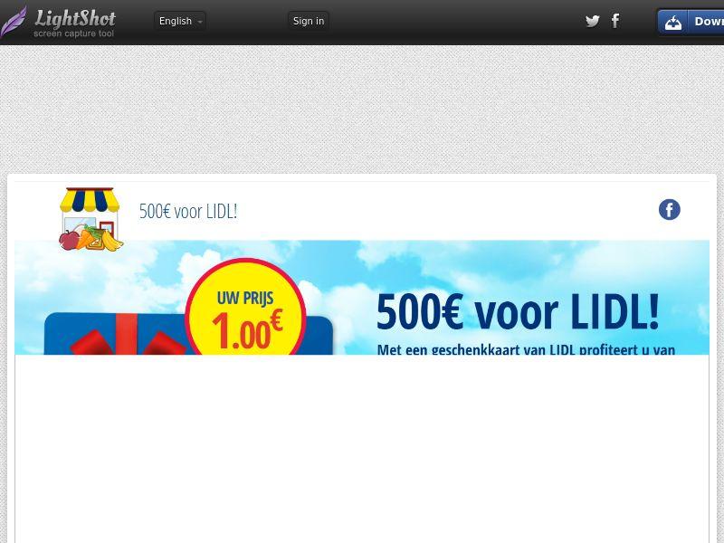 winlotsofthings 500€ LIDL Giftcard (Sweepstake) (CC Trial) - Belgium (BEnl) [BE]