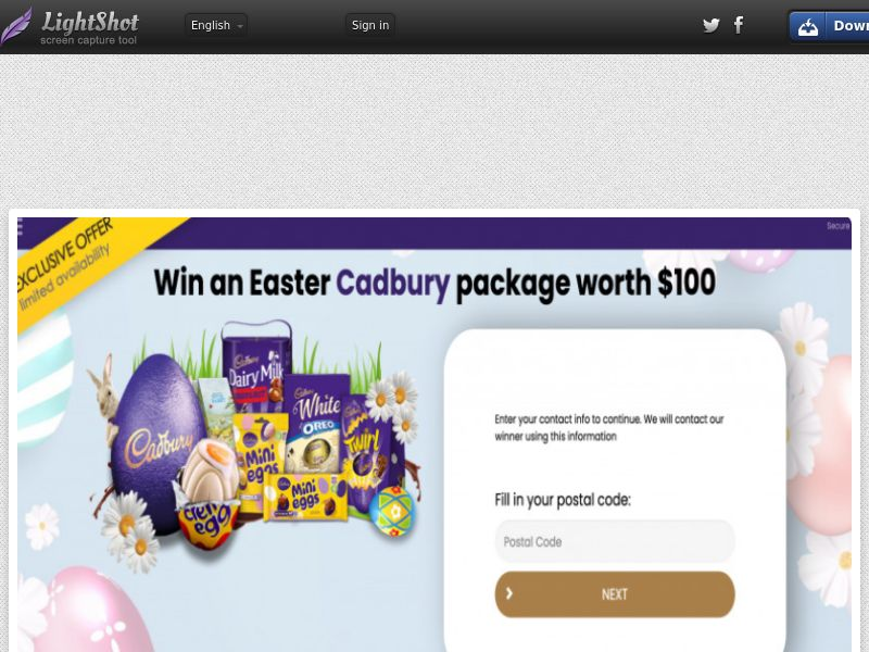 Yousweeps - Win Cadbury Easter Package (AU) (CPL) (Personal Approval)