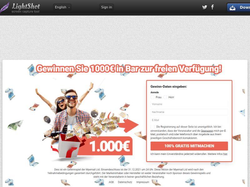 Myemail - Cash €1000 Voucher (DE, CH, AT) (CPL) (Personal Approval)