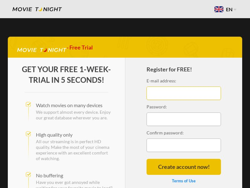 MovieTonight - Mobile and Desktop - CA,DE,ES,US,UK,FR,AU,NO,SE,FI - CPA (Converts on free trial) - Incent and non-incent allowed