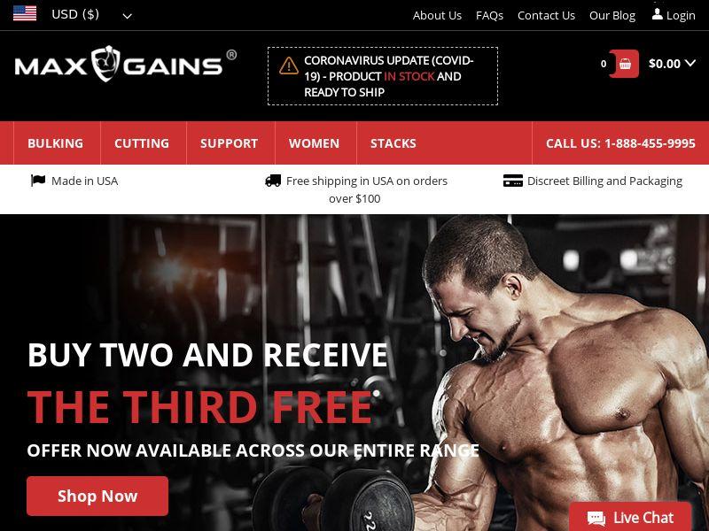 Max Gains | Natural Steroid Alternatives - Bulk, Cut, Support
