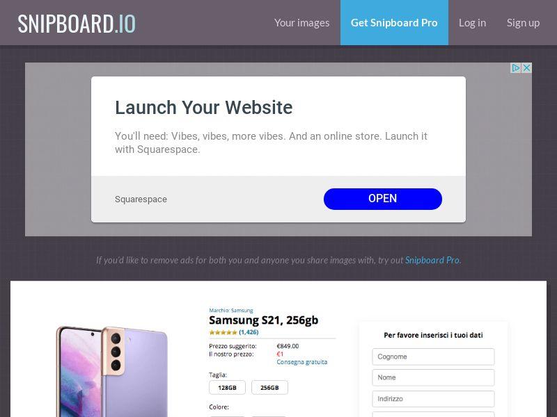 MagnificentPrize - Samsung Galaxy S21 Amazon IT - CC Submit