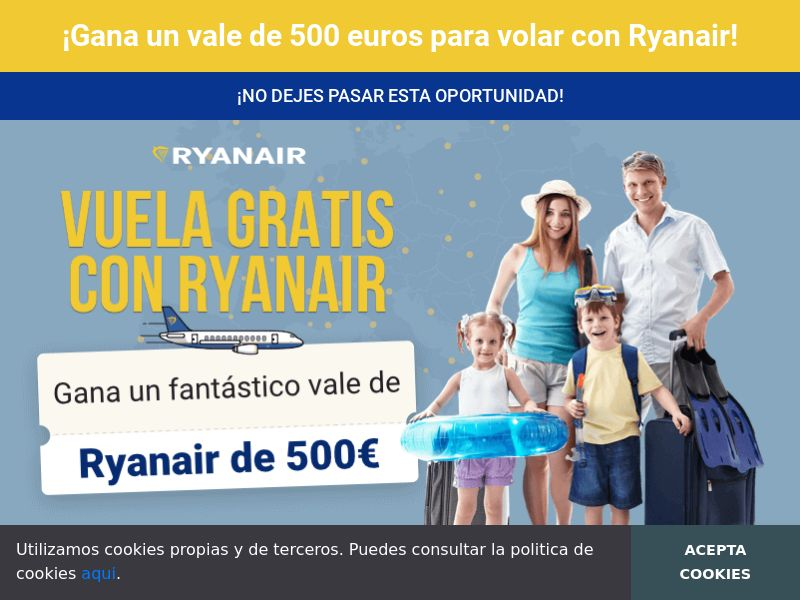 Ryanair - ES (ES), [CPL], Lotteries and Contests, paypal, survey, gift, gift card, free, amazon