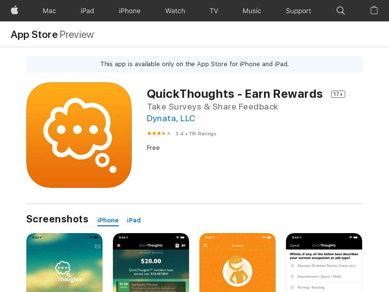 QuickThoughts: Earn Gift Card Rewards - iOS (US) (KPI) (Incent) (Personal Approval)